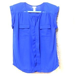 Royal blue sheer polyester top two front pockets
